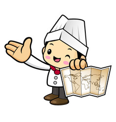 Executive chef character is holding a world map vector