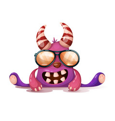 Fanny cute crazy monster in sunglasses vector