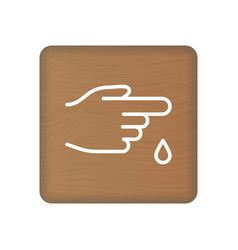 finger with blood drop icon linear style vector image