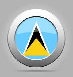 Flag of saint lucia metal gray round button vector