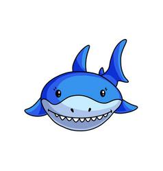 front face blue shark that shows white teeths vector image