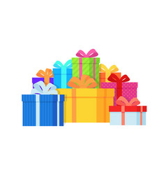gift box pile color gift boxes vector image