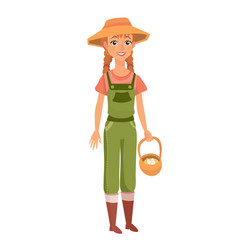 ginger woman with braids as farm worker vector image