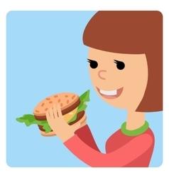 Girl eating sandwich vector