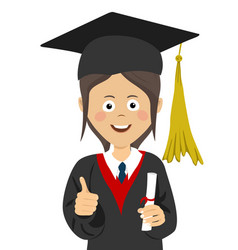 Girl graduate student in graduation cap and mantle vector
