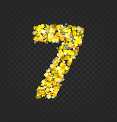 Gold glittering number 7t vector