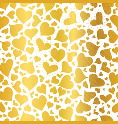 golden hearts seamless pattern design vector image