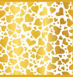 golden hearts seamless pattern design vector image