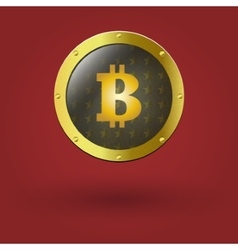 golden isolated bitcoin coin front view vector image
