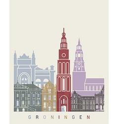 Groningen skyline poster vector image