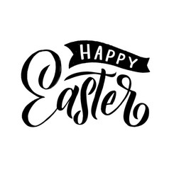 happy easter modern brush calligraphy ink vector image