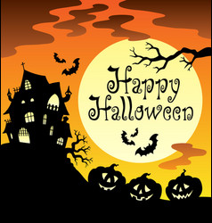 Happy halloween theme with moon 1 vector