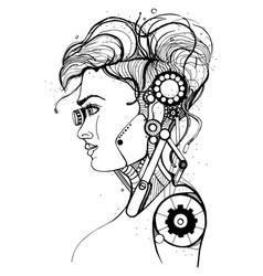 head female cyborg concept silhouette skull vector image