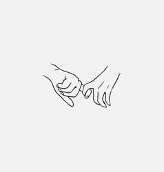 Holding hands hand drawn with contour lines in vector