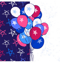 Ink hand drawn background with balloons july 4th vector