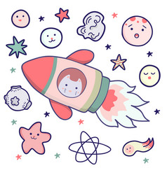 Japanese kawaii cat travels in space and set of vector