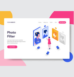 landing page template photo filter isometric vector image