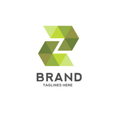 letter z colorful geometric logo vector image