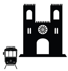 lisbon tramway in black color with building vector image