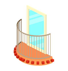 little balcony icon isometric 3d style vector image