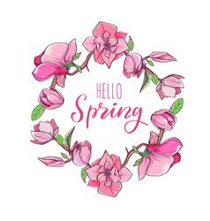 magnolia flower wreath with hello spring lettering vector image