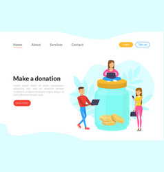 Make a donation landing page template people vector