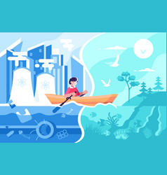 man swimming on boat from town to nature vector image