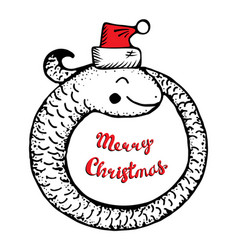 merry christmas with cartoon coiled vector image
