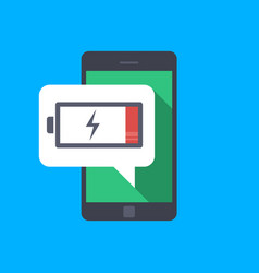 Message on the mobile phone about low battery vector