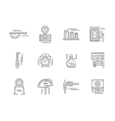 Metrology linear icons set vector image