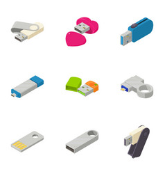 mobile memory icons set isometric style vector image