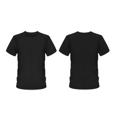 mockup template men black t-shirt short sleeve vector image