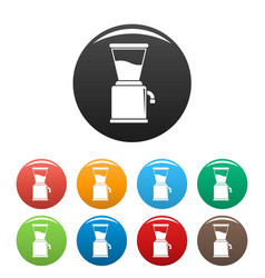 Modern coffee grinder icons set color vector