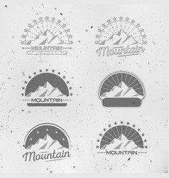 mountains logo set vintage design collection vector image