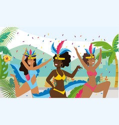 Nice girls dancers with costume and palms vector