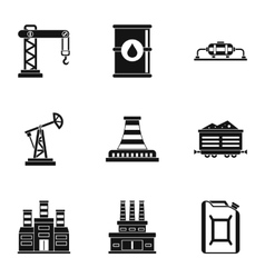 Oil icons set simple style vector