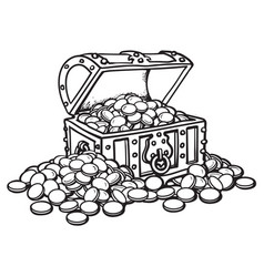 Old chest with coins piles of coins around black vector