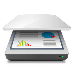 Opened office a4 scanner on white vector