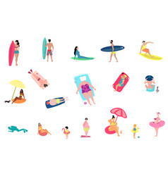 people activities at summer beach set isolated on vector image