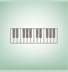 Piano keyboard sign brown flax icon on vector