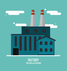 Plant cloud building chimney factory industry icon vector