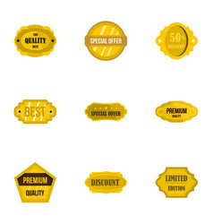 Premium golden badges icons set flat style vector