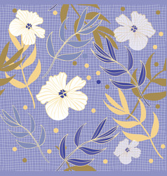 pretty periwinkle blue and gold floral repeat vector image