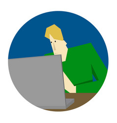 programmer working and coding by the computer vector image