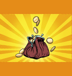 Purse with gold coins vector