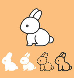 rabbit icon outline and silhouette design vector image