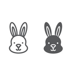 rabbit line and glyph icon hare and animal bunny vector image