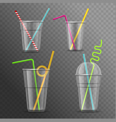 realistic 3d detailed glasses straws set vector image