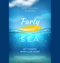 Realistic summer poster sea underwater pool party vector
