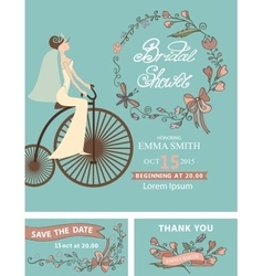 Retro Bridal shower setBridefloral decorretro vector image